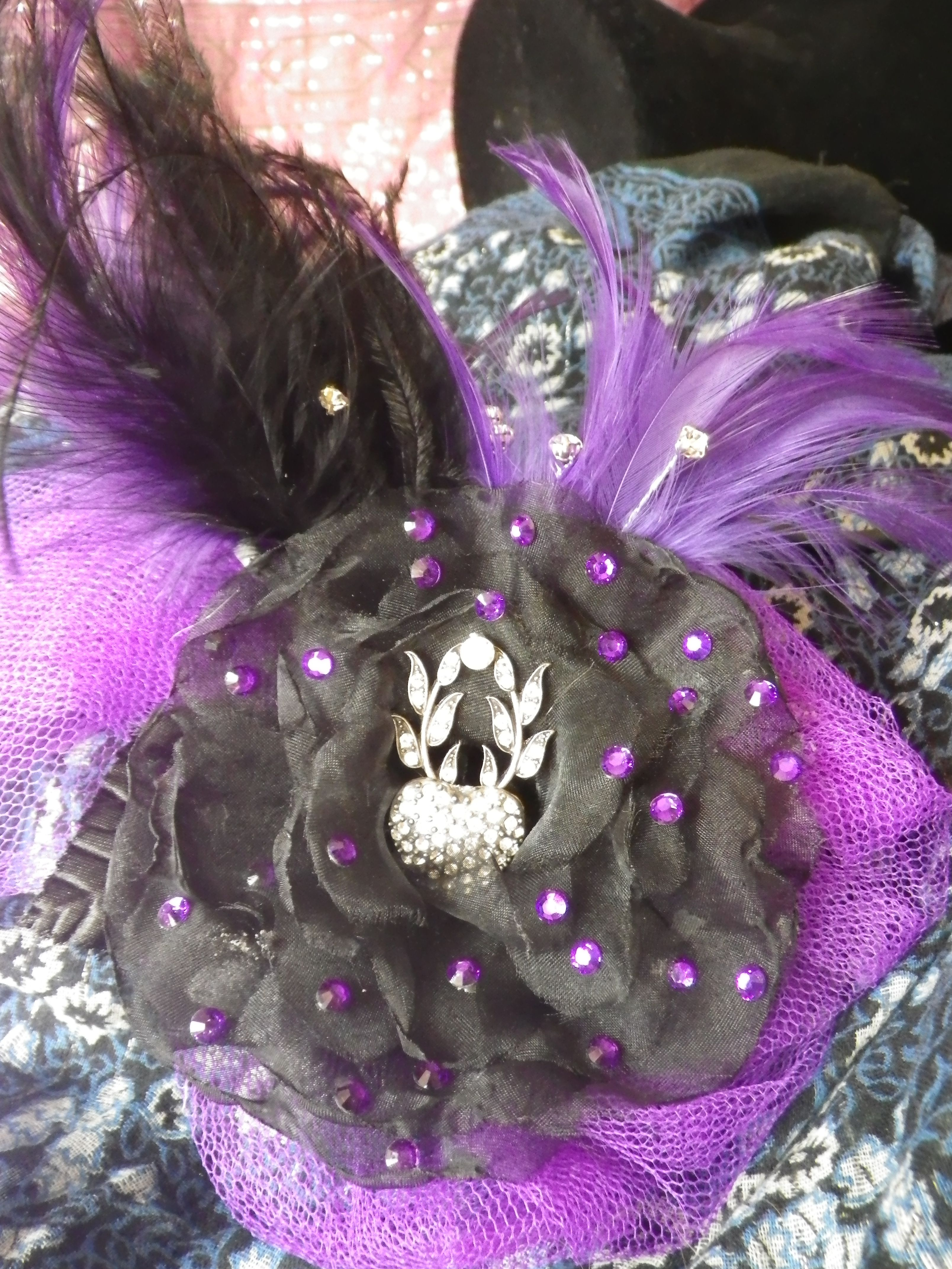 black and purple gothic style fascinator with feather detail ... ae03325852b