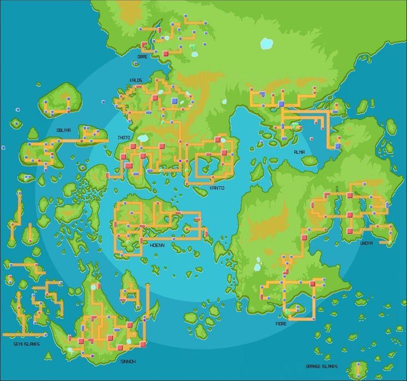 Map of the Pokemon world  pokemon Maps Pinterest Pokémon and - new world map online puzzle