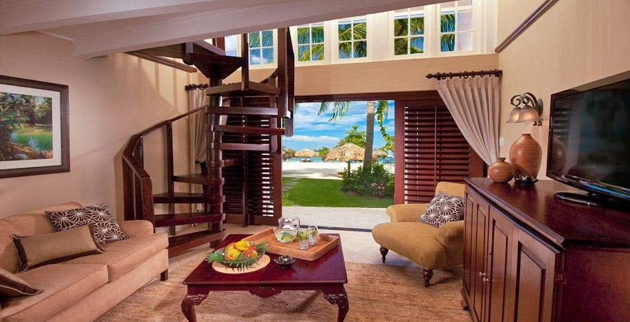 Caribbean Honeymoon Beachfront Two Story One Bedroom Butler Suite 1b Sandals Negril