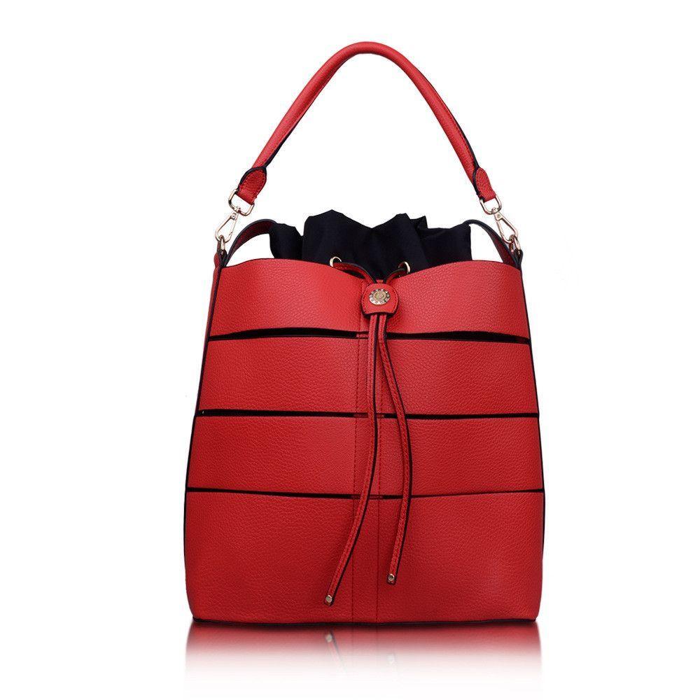 New Women's Shoulder Bag Hollow Out Handbag Casual Lady Totes Pu Leather Hadbag For Female Large Capacity Bag Elegant Bucket Bag