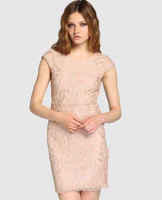 c65f0fe73f Vestido de mujer Vero Moda rosa de guipur