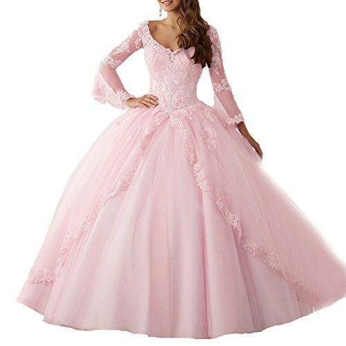 c48f8591099d MARSEN Lace Appliques Beaded Evening Ball Gown Long Sleeve A-Line  Quinceanera Dress Pink Size