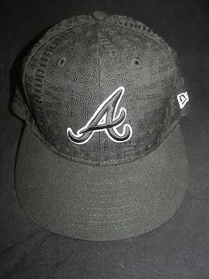 New Era 59 Fifty Atlanta Braves Fitted Hat Black Size 7 1 4 Fitted Hats Hats Baseball Hats