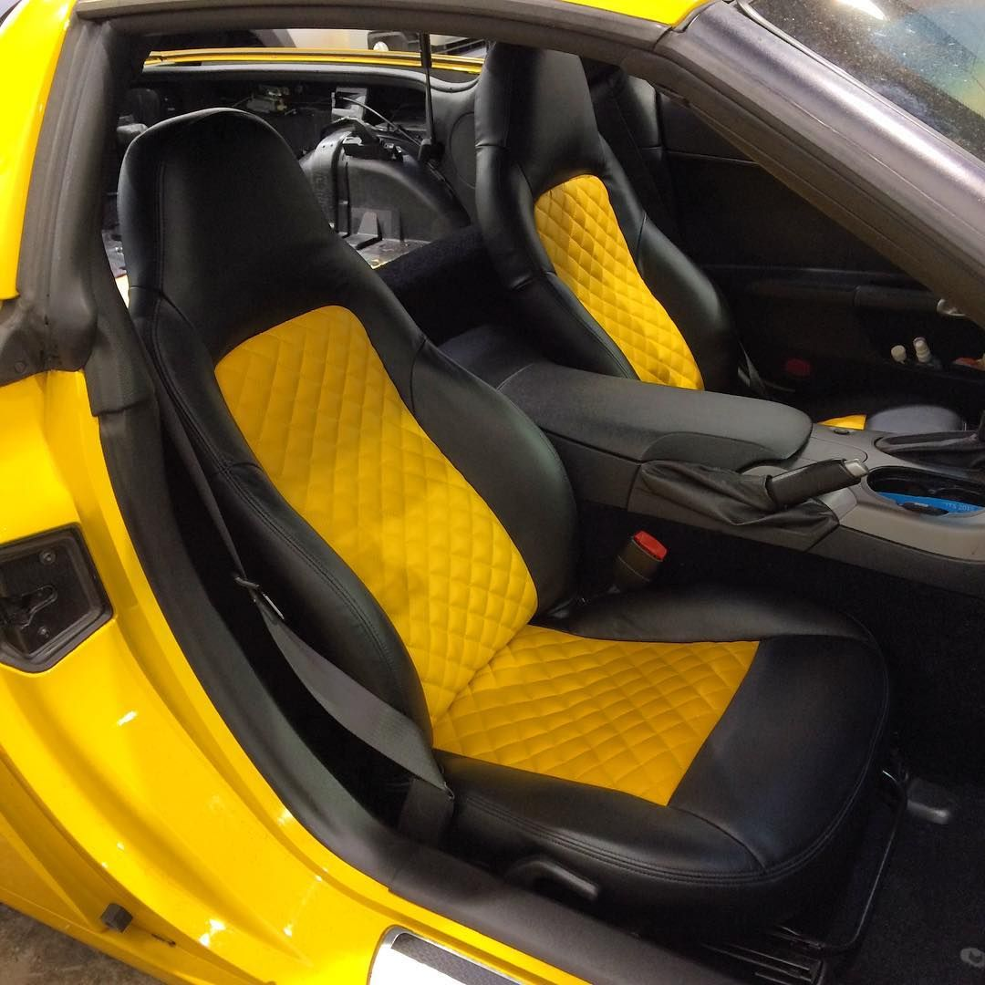 corvette yellow and black diamond stitch interior seats auto addiction interiors pinterest. Black Bedroom Furniture Sets. Home Design Ideas