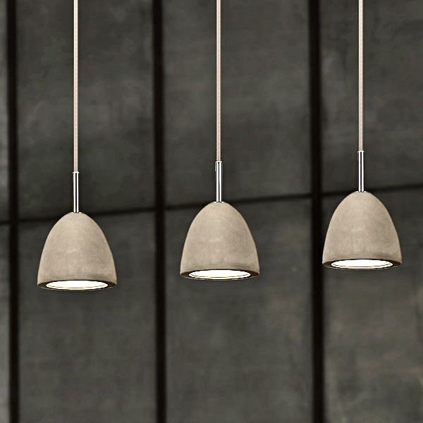 Mini Grey Concrete Pendant Light Half Oval Shaped Shade Three Pieces Hanging On Metal Staff : small pendant lights - azcodes.com