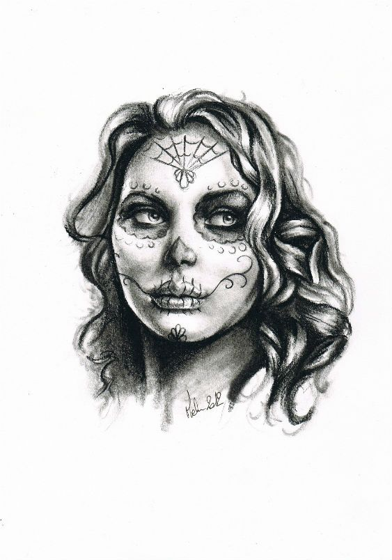 dessin au crayon d 39 un portrait de femme calavera r aliste pour tattoo tete femme pinterest. Black Bedroom Furniture Sets. Home Design Ideas
