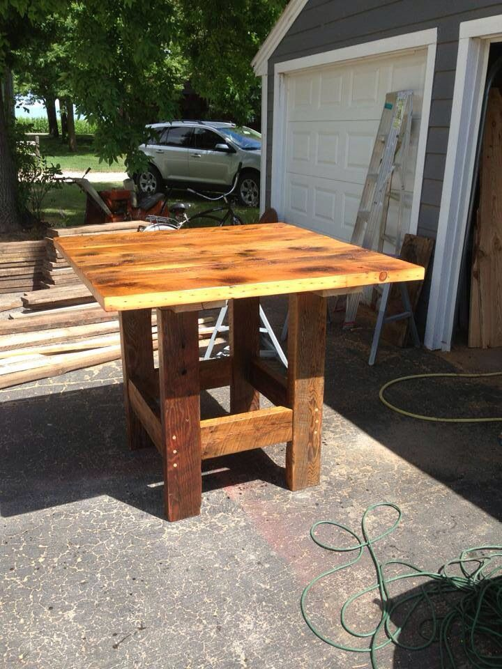 42 Inch Tall Pub Table Plank Table, 42 Inch, Reclaimed Barn Wood, Farmhouse