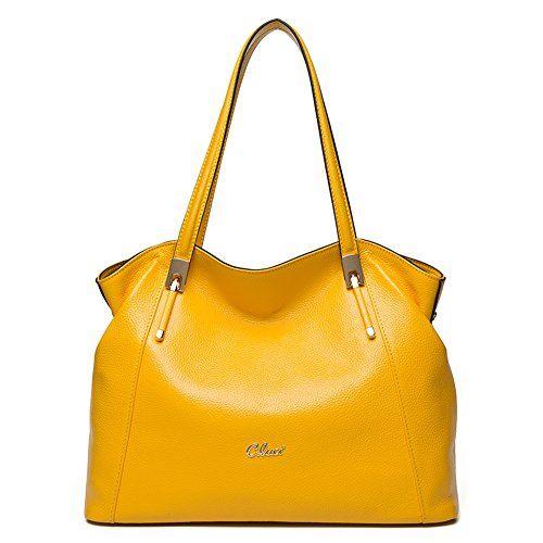 5a005232fb8c Cluci Leather Handbags Designer Tote Satchel Shoulder Bag Purse for Women  Yellow  160.00
