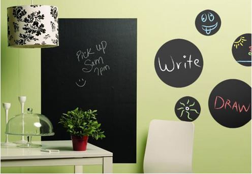 Six Foot Customizable & Cuttable Chalkboard Wall Sticker w/Chalk ...