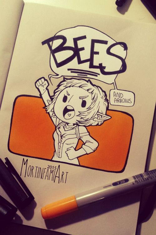 Today I was in the mood to make a tiny Sera excited by bees. Pretty much excited. XDD ❤ I don't draw her enough, I love her so much.