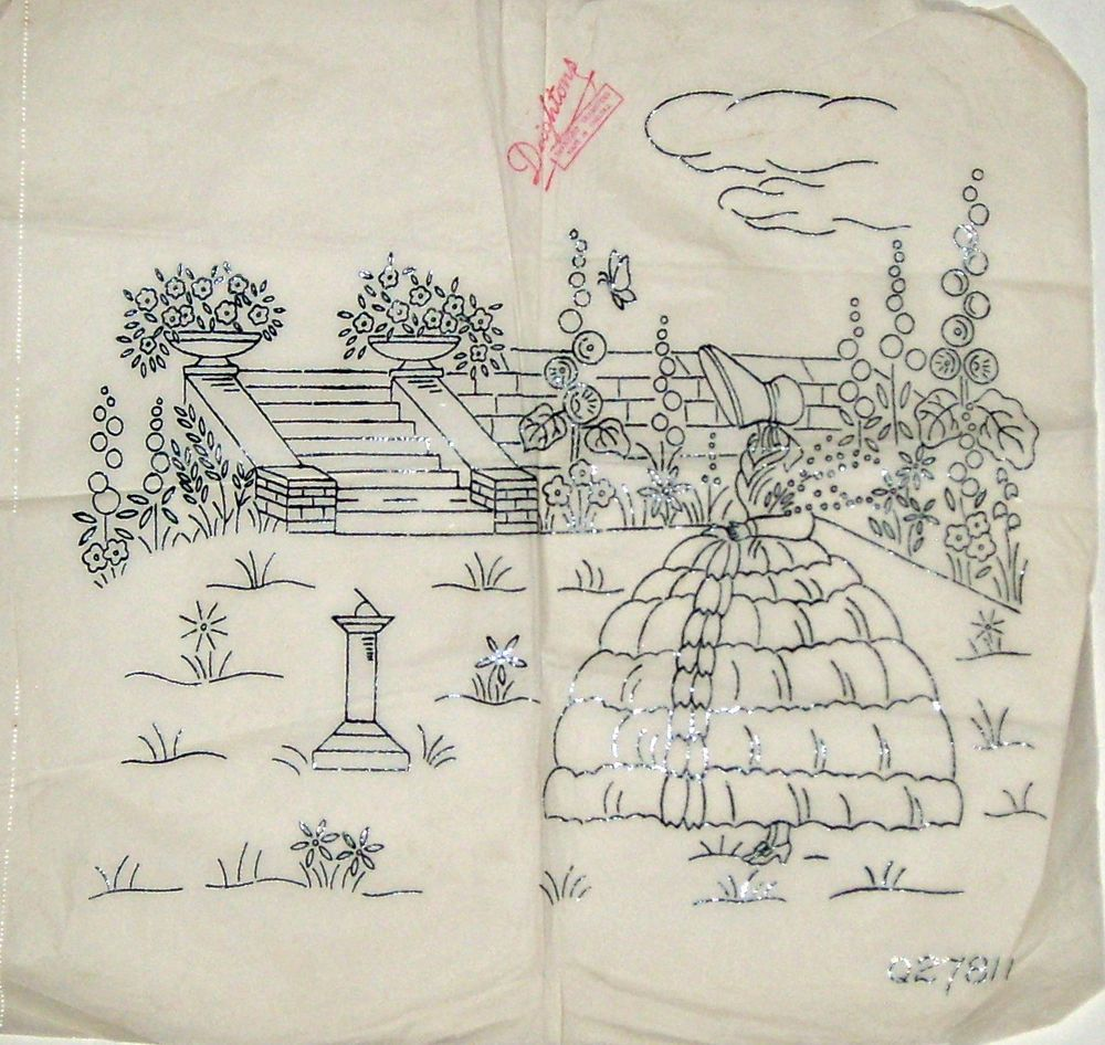 Vintage Deighton embroidery transfer - Crinoline Lady & garden ...