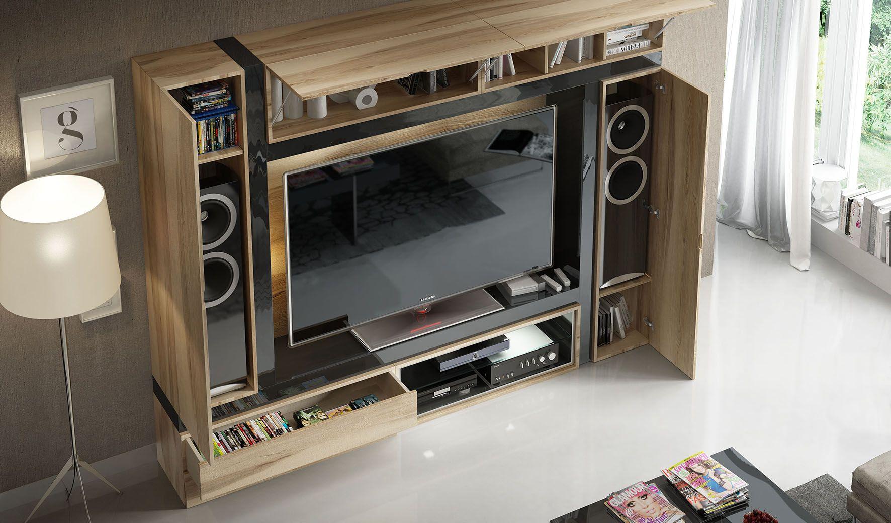 Detalle Mueble Tv Salon Compacto Muy Pr Ctico Muebles  # Muebles Compactos