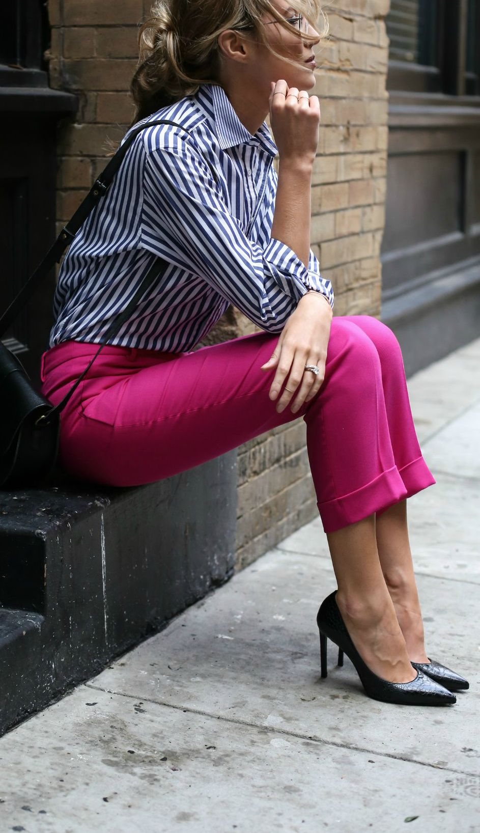 57a7e335 How to wear bright colors at the office with these fuchsia pink pants, navy  and