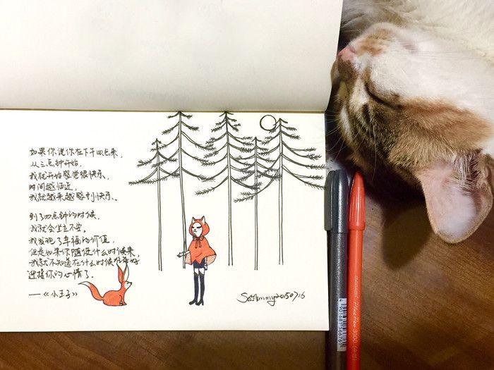 #Sammy的随手喵涂# 如果是我,会选择和小狐狸一起在地球生活。 可惜王子心里已经住着他的玫瑰了。