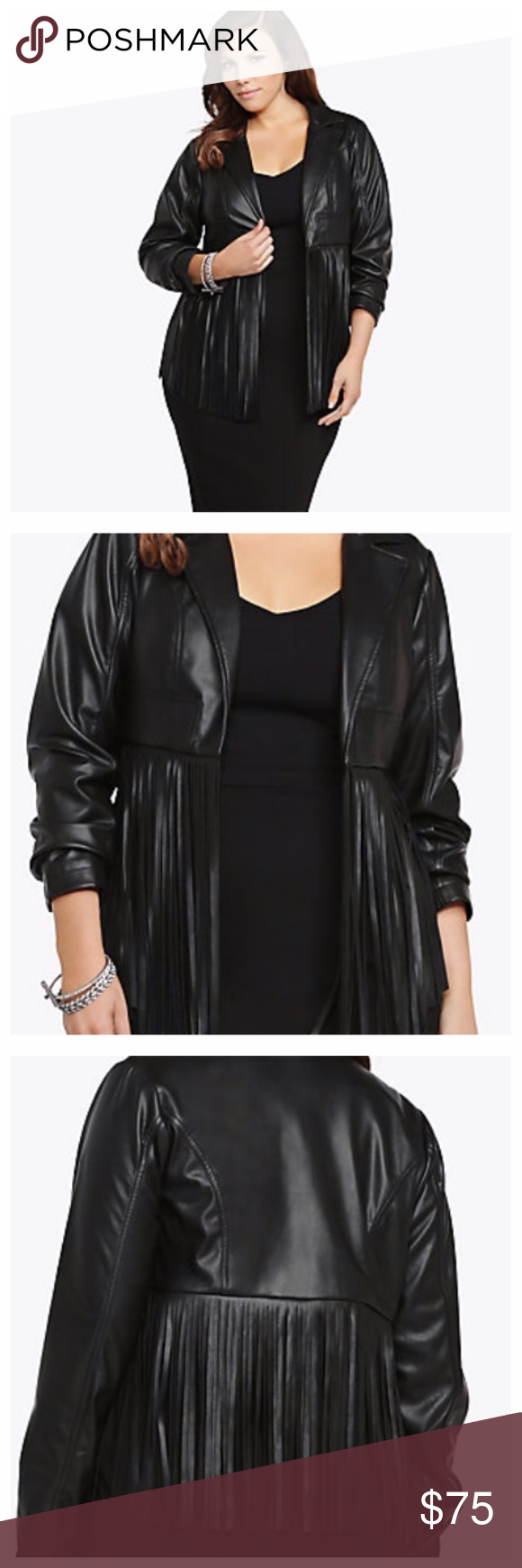 Torrid Fringe Cropped Faux Leather Jacket This was apart of Torrid premium the jacket sold out quick. Bought and never got to wear it. My loss your gain for the fraction of the cost. DETAILS Torrid Premium line, this black faux leather jacket is cropped with oodles of fringe on the bottom. An open front, long sleeves and a classic collar give the sexy jacket a polished look. ❌NO TRADES OR PP❌ Torrid Jackets & Coats