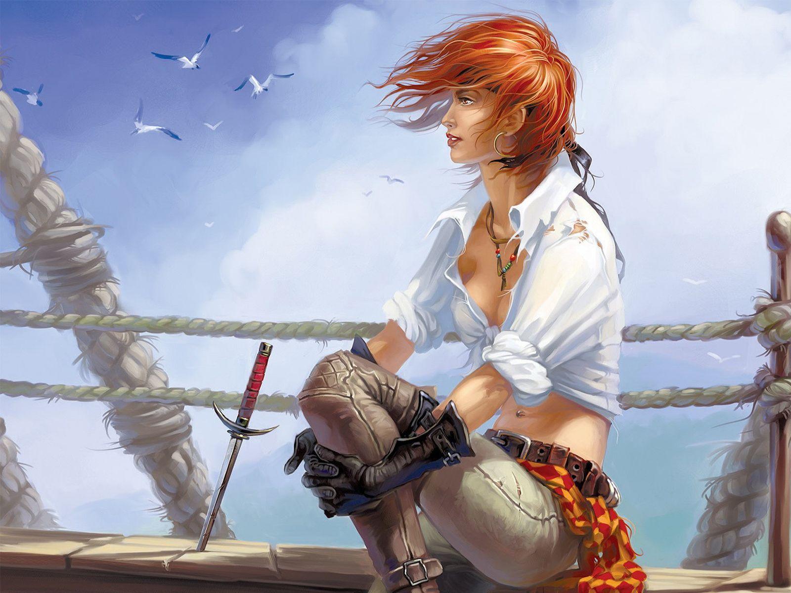 Free wallpaper of pirate woman firing guns pirate draw - Anime pirate wallpaper ...