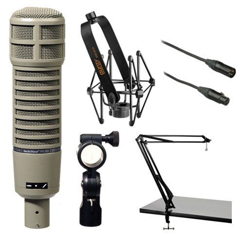 Electro Voice Re20 Microphone Kit With Shockmount Two Section Broadcast Arm And Microphone Cable Microphone Music Gadgets Music Recording Equipment