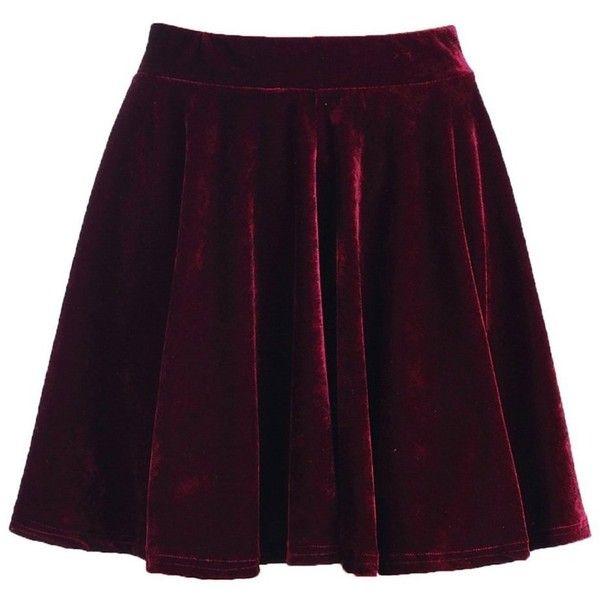Romwe Women's Velvet Skirt ❤ liked on Polyvore