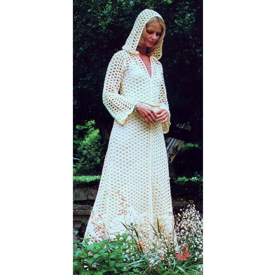 INSTANT DOWNLOAD PDF Vintage Crochet Pattern Maxi Hooded Evening Coat  Kaftan Wedding   Retro door PastPerfectPatterns op Etsy