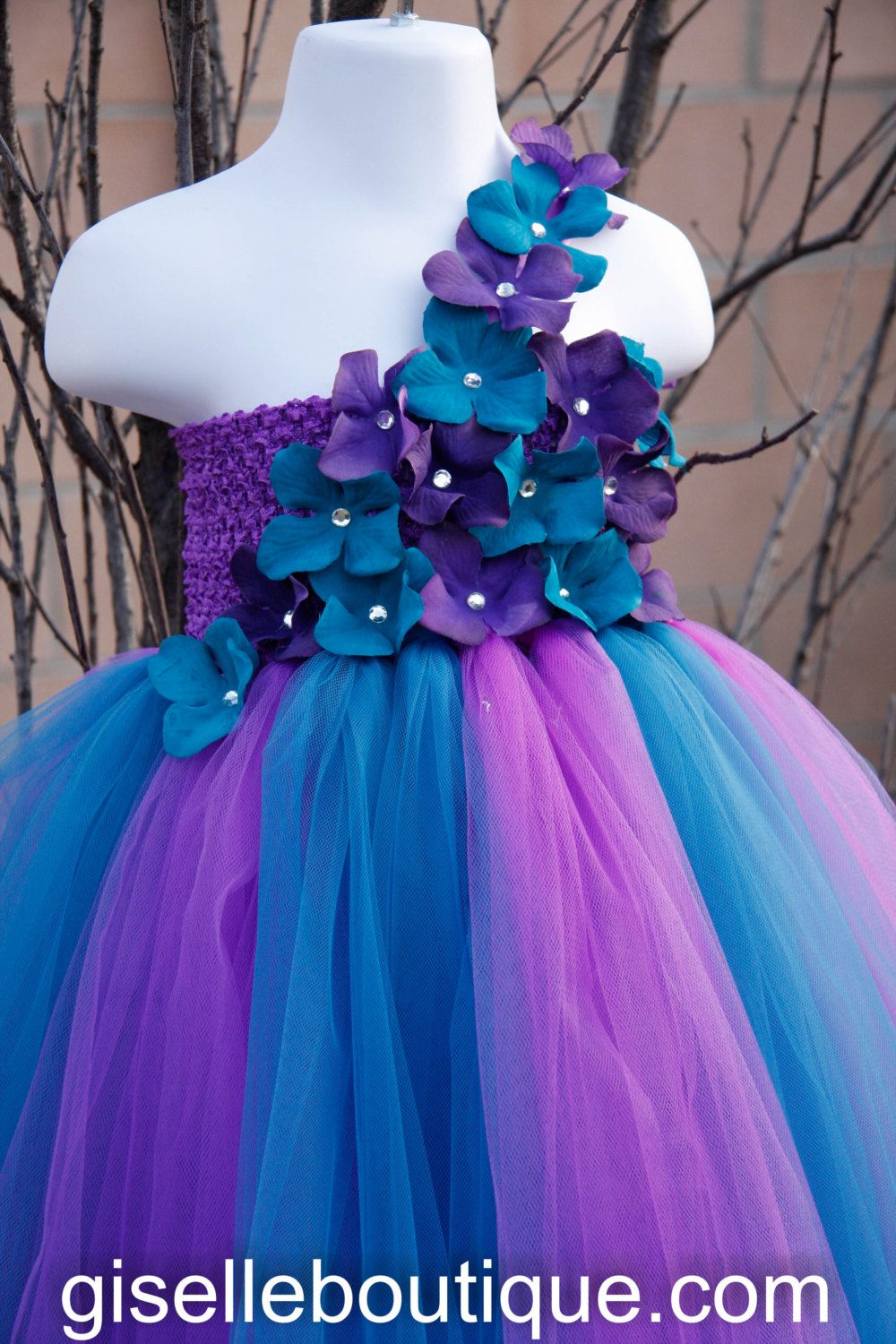 Flower girl dress. Purple and Teal TuTu Dress. by giselleboutique ...