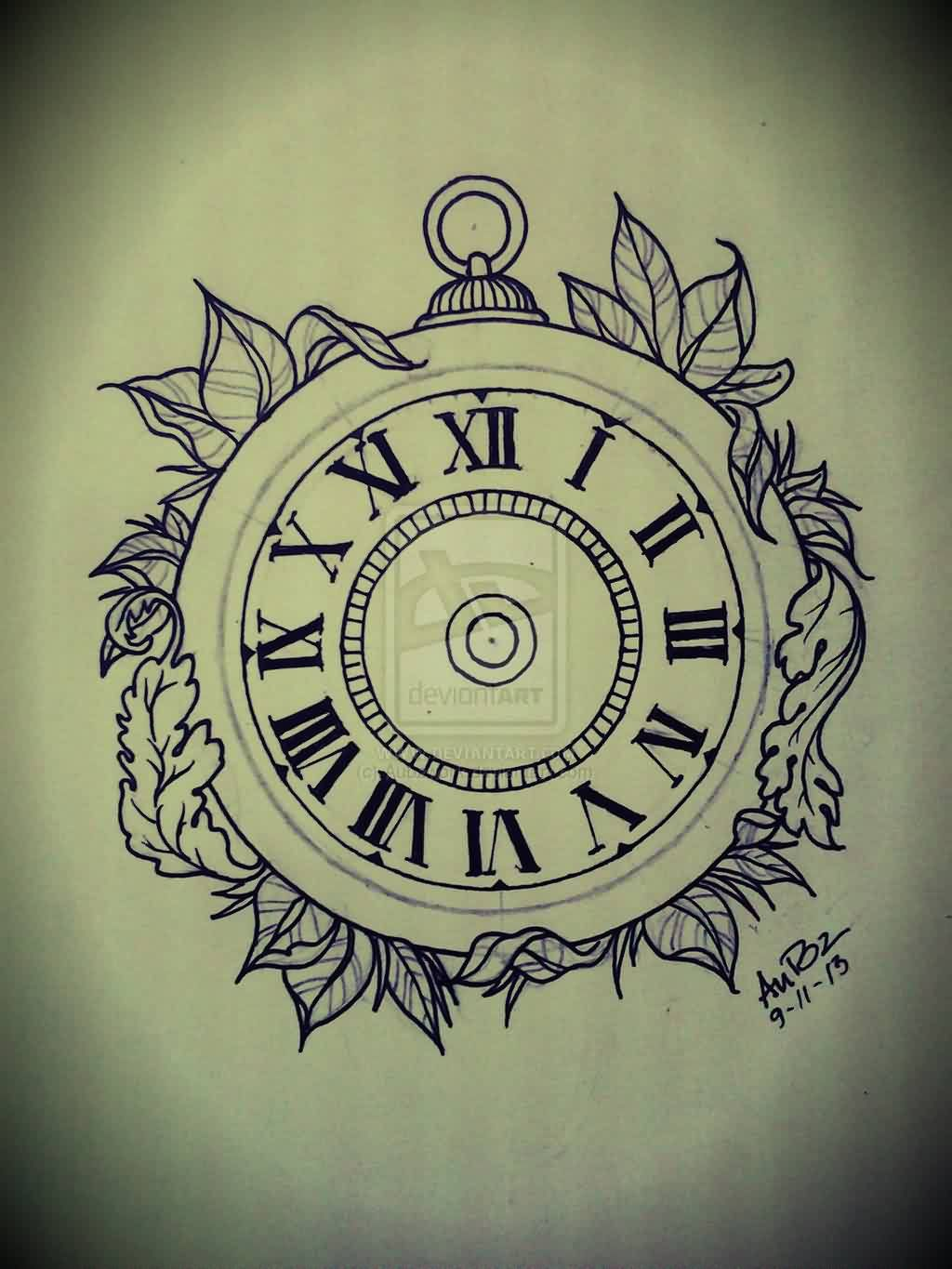 Leaves And Simple Clock Tattoo Design