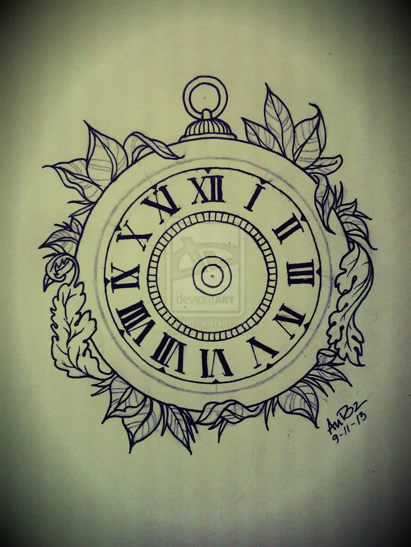 Leaves And Simple Clock Tattoo Design Clock Tattoo Design Clock