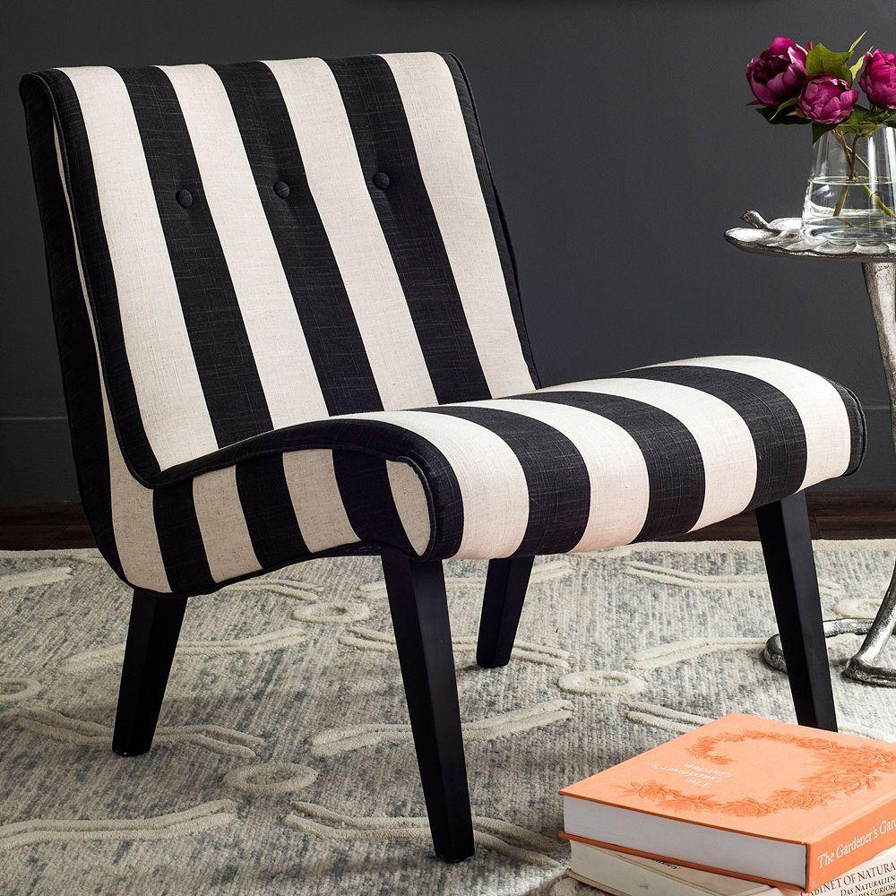 Best Safavieh Mandell Accent Chair Black Striped Chair 400 x 300