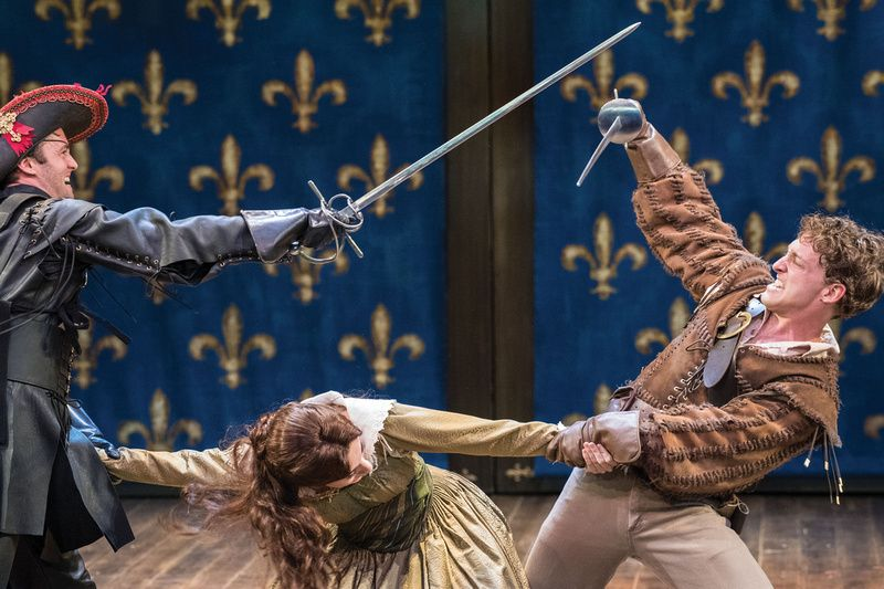 Jack Lafferty (left) as Rochefort, Kelly Rogers as Constance Bonacieux, and Luigi Sottile as D'Artagnan in the Utah Shakespeare Festival's 2016 production of The Three Musketeers. (Photo by Karl Hugh. Copyright Utah Shakespeare Festival 2016.) @utahshakespeare #3musketeers