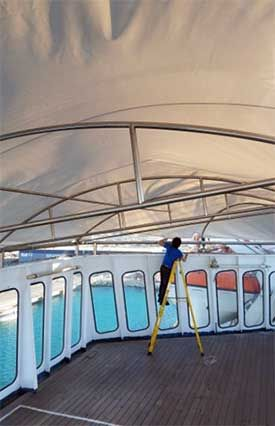 Cruise Ship Canopy Installation | Commercial/Cruise Ship Rigging