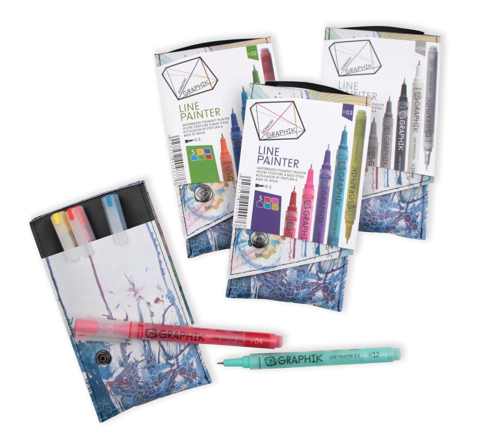 Derwent Graphik Line Painter Pen Wallet Of 5 Colours Sets