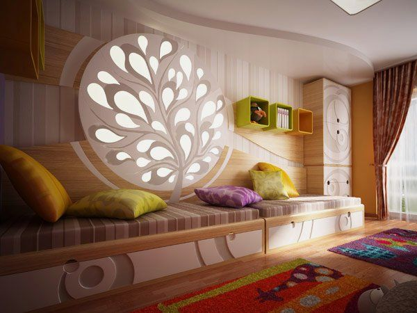 Colorful Kids Bedroom Design Featuring Light Decorative Objects ...