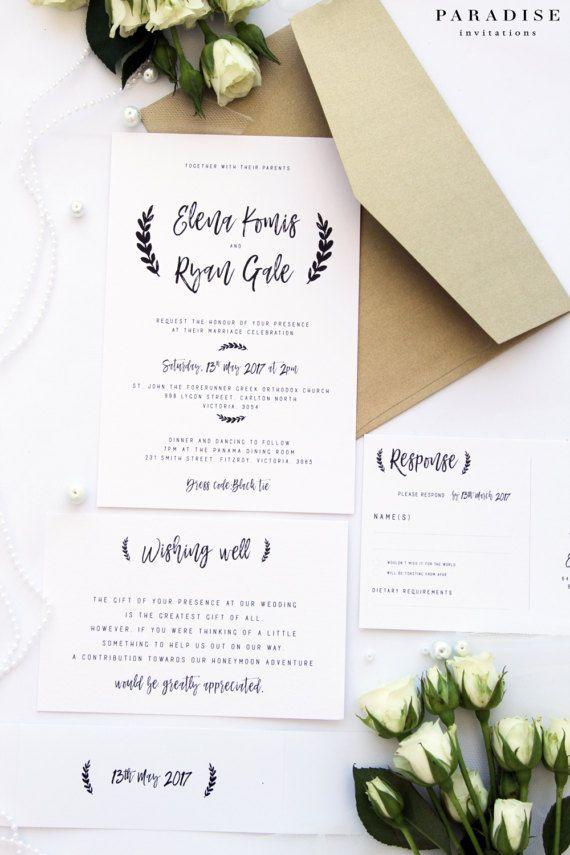 Gold And White Wedding Invitation Sets