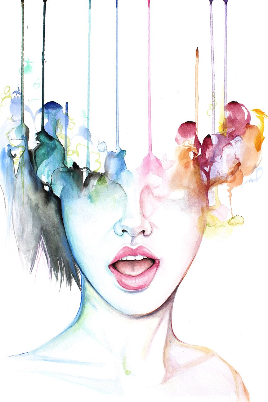B Tch Please Contemporary Watercolor Portrait Painting By