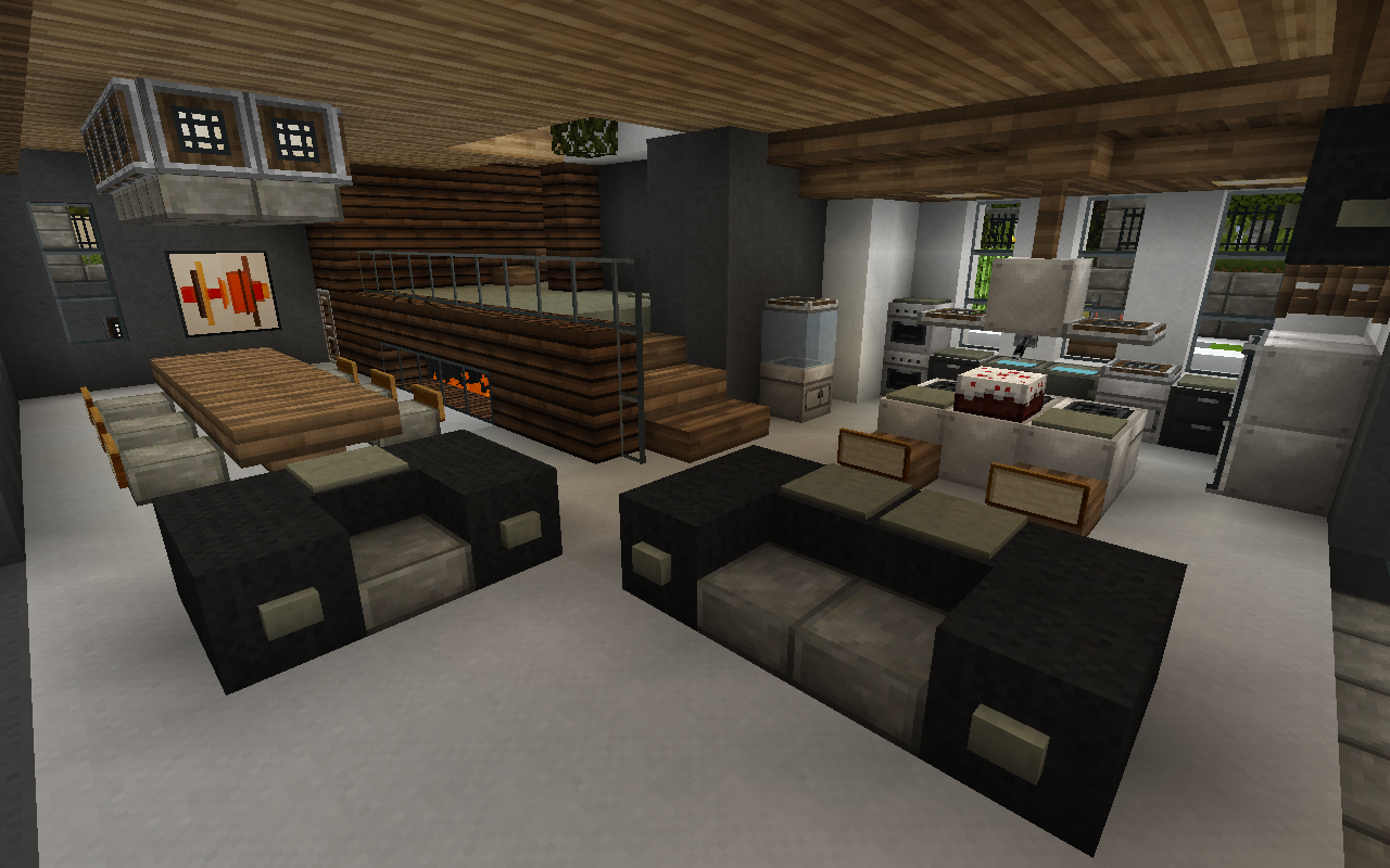 Minecraft Interior I Really Like The Raised Area With The Fireplace Beneath Minecraft Interior Design Minecraft Kitchen Ideas Minecraft House Designs