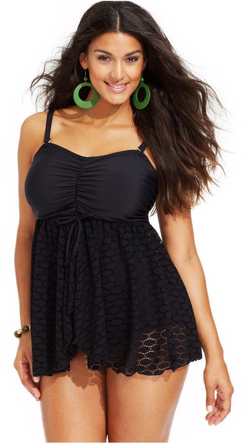 ea125055506 Plus Size Crochet-Knit Swimdress | Plus Size Fashion | Fashion, Swim ...