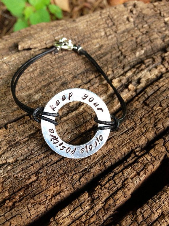 Hand Stamped Karma Bracelet Keep Your Circle Positive Infinity On Etsy 1500