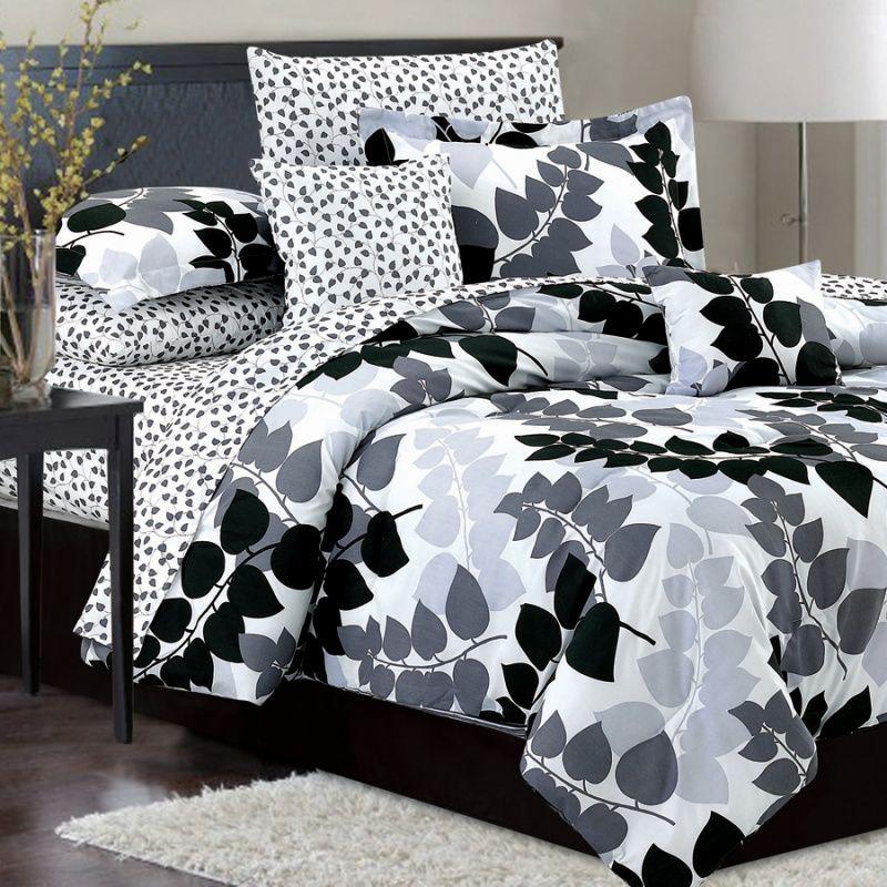 Good Crest Home Design Akiya Silver 10 Piece Bedding Set $59.99