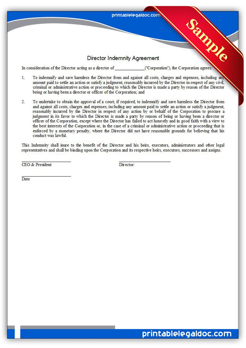 Free Printable Director Indemnity Agreement Form Generic Legal