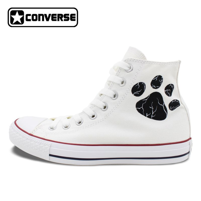 b02e20903ce4 White Converse All Star Boys Girls Shoes Custom Pet Dog Paws Hand Painted  High Top Canvas