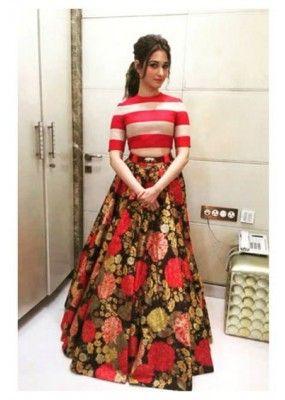 ccbdad2648cb Bollywood Replica - Tamanna Bhatia In Designer Crop Top Lehenga ...