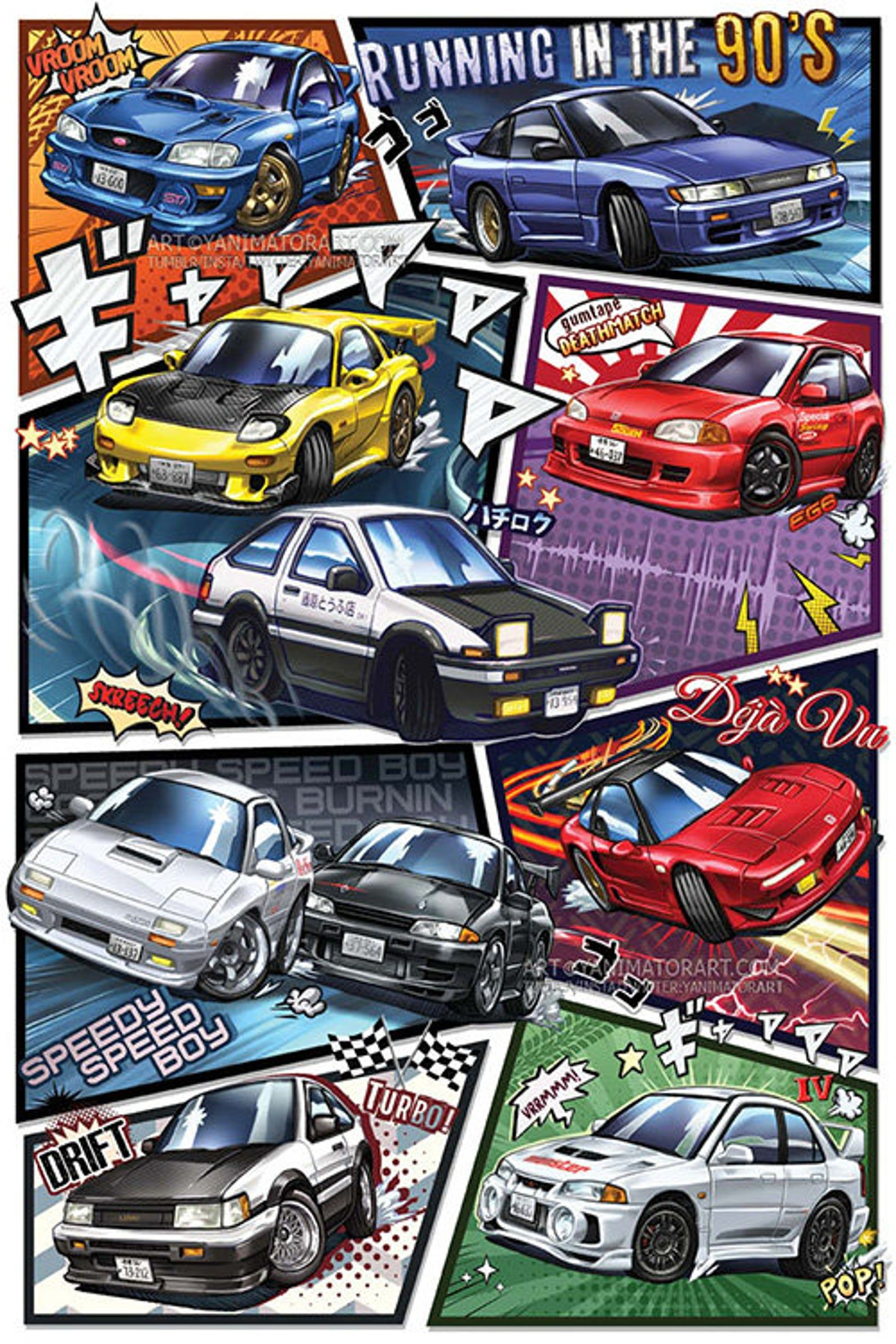 Initial D Manga Styled Car Poster Print 1st Edition Deja Vu Etsy Cool Car Drawings Jdm Wallpaper Car Posters