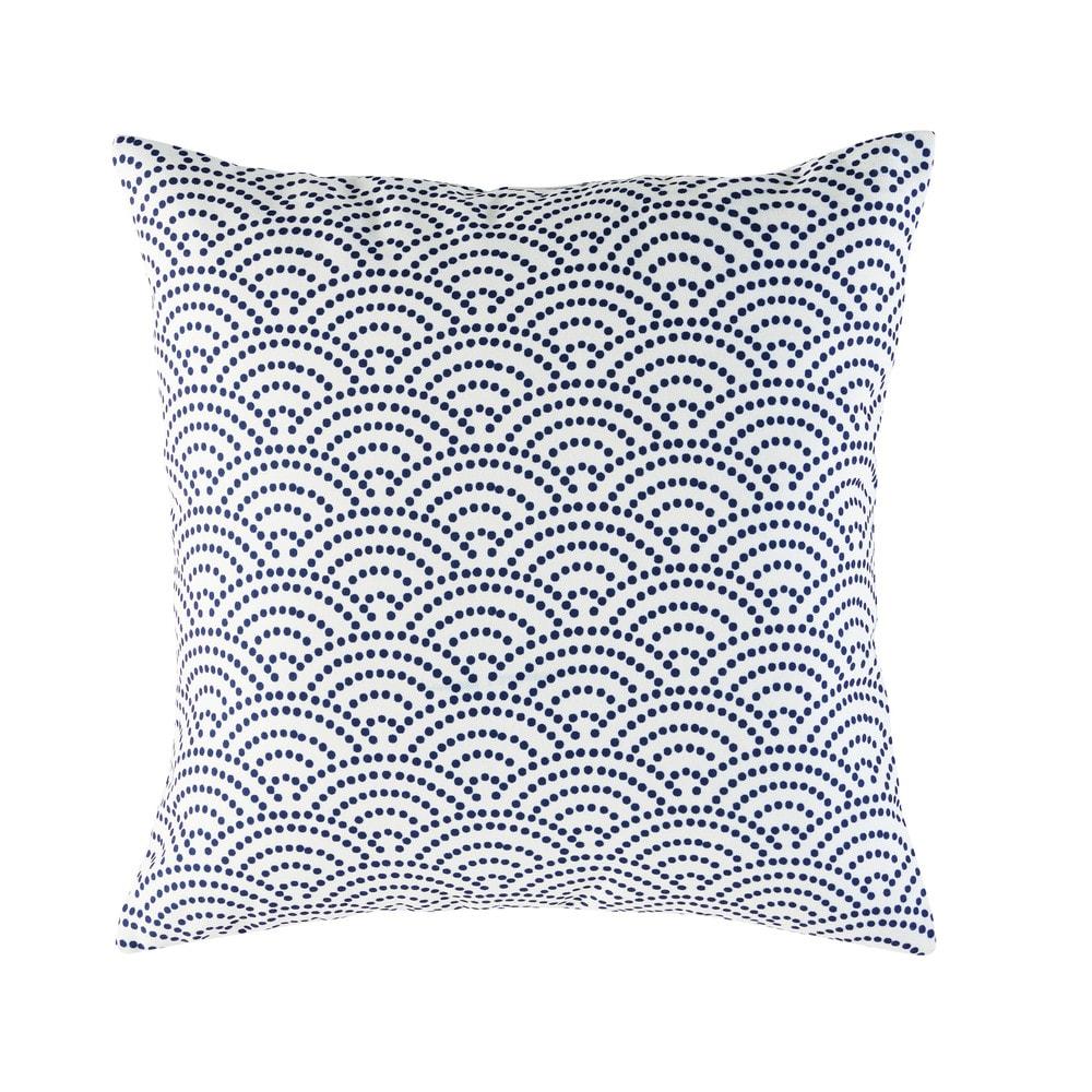 coussin d 39 ext rieur blanc motifs graphiques bleus 45x45 maisons du monde loft inspiration. Black Bedroom Furniture Sets. Home Design Ideas