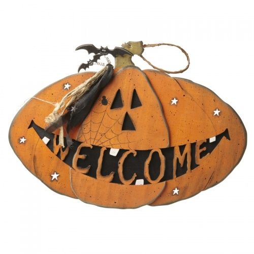 Heaven Sends Large Halloween Pumpkin Welcome Sign Halloween - large halloween decorations