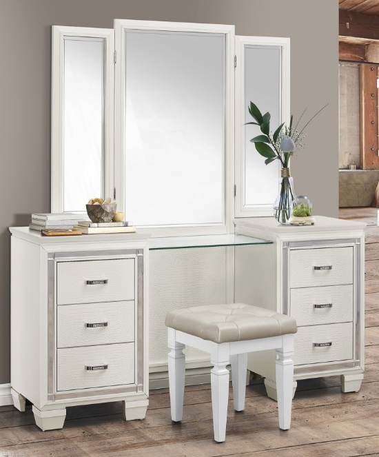 Allura Collection Vanity With Mirror Stool White Finish 1916wh Casye Furniture White Wood Vanity Wood Bedroom Furniture Bedroom Vanity