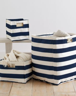 Kidsu0027 Printed Canvas Storage Bin, Celestial Blue Stripe   Contemporary    Baskets     By Garnet Hill
