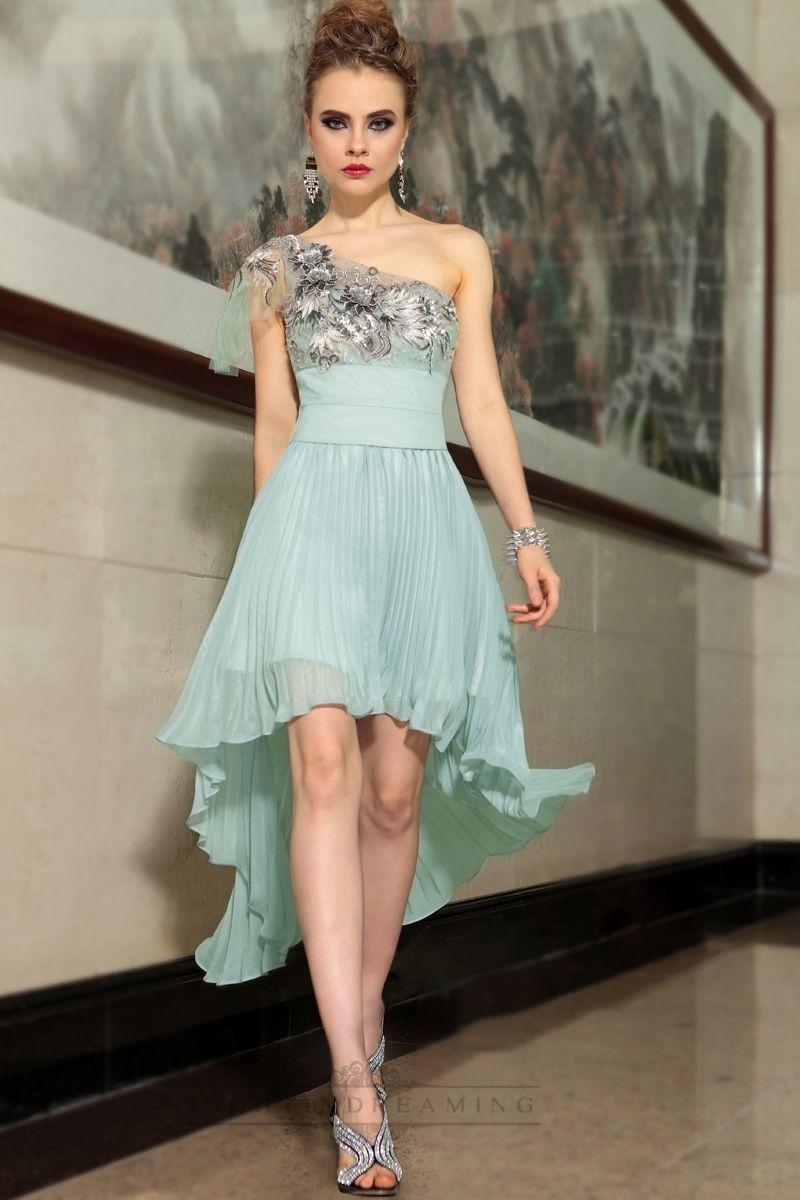 One Shoulder Feather High Low Short Formal Dresses - LightIndreaming ...