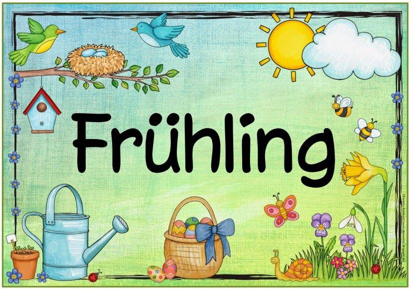 frühling  aktivitäten im kindergarten plakat schild