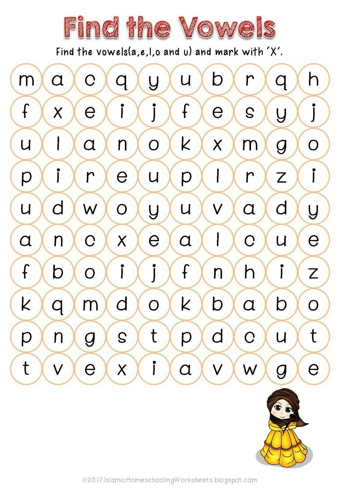 Find The Vowels In Free Disney Princess Preschool Pack Islamic Version Vowel Worksheets Kindergarten Worksheets Kindergarten Worksheets Printable [ 1600 x 1108 Pixel ]