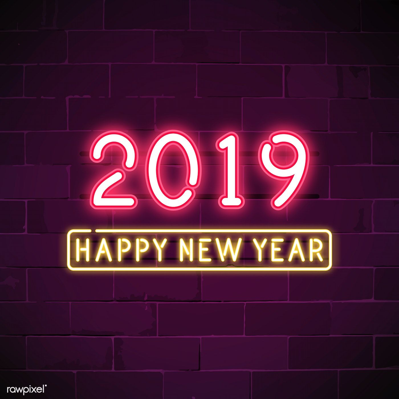 Pink 2019 happy new year neon sign vector free image by