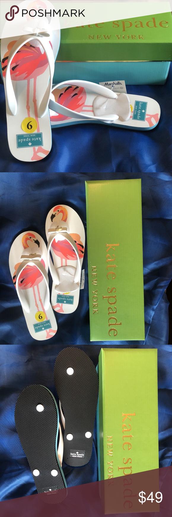 b11a84e19ed9 KATE SPADE NEW YORK Flip Flops White Flamingo 9 Details about NIB KATE  SPADE NEW YORK